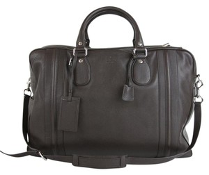 Gucci Leather Carry On Duffle Brown Travel Bag