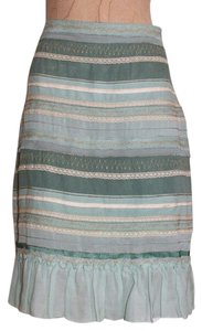 Anthropologie Tiered Lace Accent Skirt GREEN