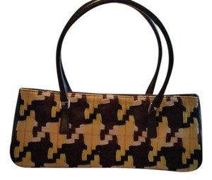 Prada Dark Leather Woven Sides Tote Satchel in Rich colors Yellow Brown 75af740018703