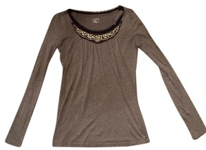 Ann Taylor LOFT Jeweled Studded Top grey