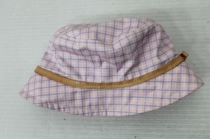 Coach Coach Plaid Bucket Hat With Leather Trim Pink Blue