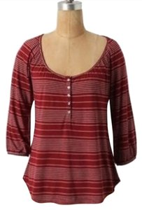 Anthropologie Three-quarter Sleeve 3/4 Sleeve Henley Button-down Striped Peasant Sleeve Fall Winter T Shirt Red