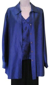 Chico's Shirt Taffeta 2 Piece Set Blue Jacket