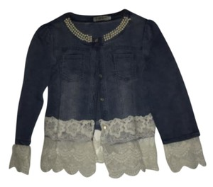 Wantongyu Pearl Light blue with Lace trim Womens Jean Jacket