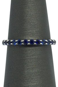14K White Gold Natural Sapphire Eternity Band