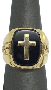 14K Yellow Gold Onyx Cross Ring