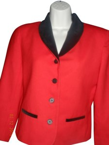 Evan Picone Evan Picone Red and Black Trim Wool Skirt Suit.