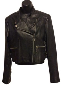 Macy's Leather Motorcycle Black Jacket
