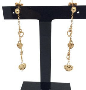 Other 18K Yellow Gold Diamond Dangling Hearts Earrings
