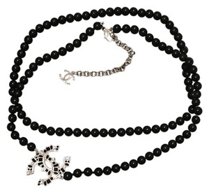 Chanel Chanel Black Pearl Long Necklace with Large Crystal CC Logo