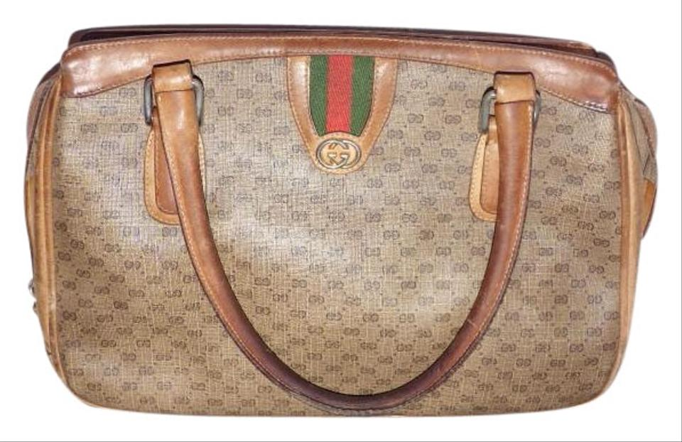 e3f679d8b85c Gucci Shades Of Early Rare Style Gg Web Excellent Vintage Satchel in brown  small G logo ...