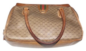 Gucci Doctor's Shades Of Early Rare Style Very Good Vintage Satchel in brown small G logo with red/green accent
