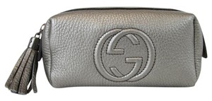 Gucci Soho Leather Cosmetic Gray Clutch
