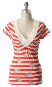 Anthropologie Nautical Print V-neck Short Sleeve Striped Floral Spring Summer Button Detail T Shirt Red Motif