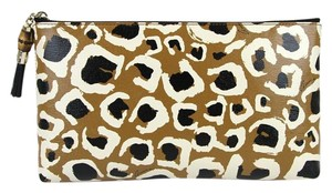 Gucci Cheetah Print Leather Pouch Brown 2768 Clutch