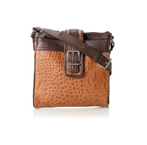 Tignanello Pebbled Leather Whiskey/Chocolate Messenger Bag