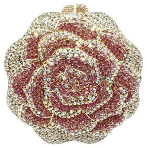 Pink and White Austrian Crystals Rose Clutch Bridal Handbag