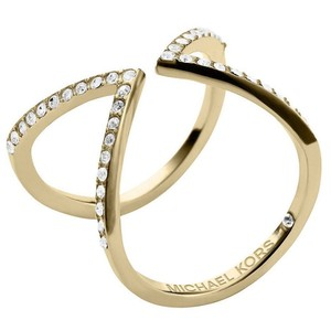 Michael Kors Michael Kors Arrow Ring Gold Tone Crystal Pave Size 6