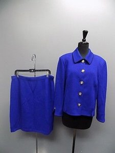 St. John St John Collection Blue W Black Trim Knit Button Down Skirt Suit Sma9700