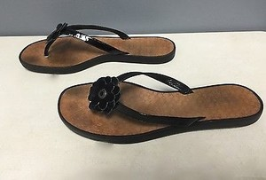 Coach Lindy Flower Top Patent Leather Casual Thong Flip Flops B3363 Black Sandals
