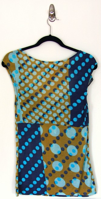 Anthropologie Print Modern Ruffle Feminine Ruched Polka Dot Top Blue Motif
