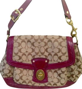 Coach Hobo Vinyl Magenta Logo Summer Spring Shoulder Bag