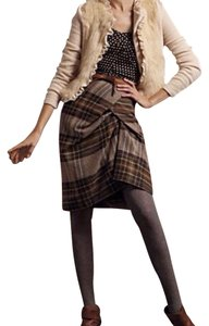 Anthropologie Structured Wool Pencil Unique Plaid Skirt
