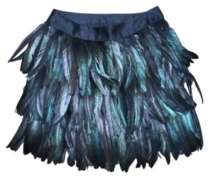Express Edition Feather Satin Luxury Mini Skirt Pitch Black Iridescent