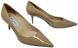 Jimmy Choo Aza Anouk Abel Patent Leather Pointed Toe Beige Pumps