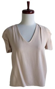 Vanessa Bruno Neutral Short Sleeve V-neck Beige Top taupe
