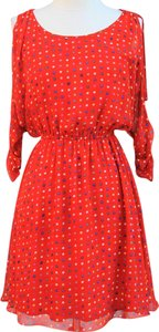 unknown short dress CORAL Polka Dot Cold Shoulder on Tradesy