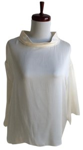 Lanvin Silk 3/4 Sleeve Top Ivory