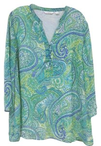 Liz Claiborne Top Blue, Green, White