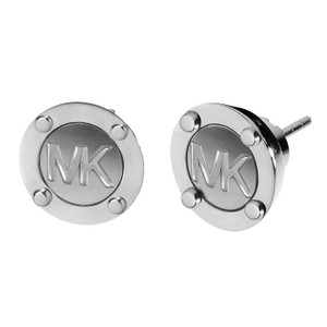 Michael Kors MKJ1667 Michael Kors MK Logo Button Stud Earrings Silver Tone