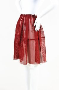 Marni Mesh Pleated A Line Skirt Red