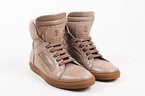 Brunello Cucinelli Crackled Leather Lace Up High Top Sneakers Tan Athletic