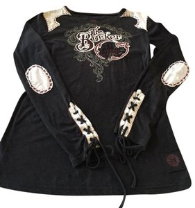 Double D Ranchwear Stretchy Embroidered Long Sleeved T Shirt dark gray