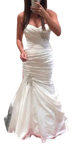 Maggie Sottero Ivory Satin Sydney Sexy Wedding Dress Size 8 (M)