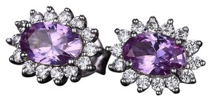 C collection 2.5 Ct Created Alexandrite sapphire stud earrings. 925 sterling silvr