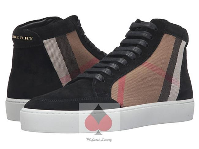 Item - Black & Tan Tartan Plaid & Check (Guaranteed Womens' Hightop' Canvas Leather Flats Laceups Sneakers Size US 8.5 Regular (M, B)
