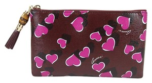 Gucci Heartbeat Leather Pouch Burgundy 5009 Clutch