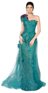 Fouad Sarkis Evening Gown Lace Long One Night Out Dress