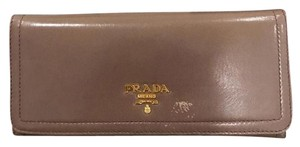 Prada Prada Taupe Leather Continental Flap Wallet
