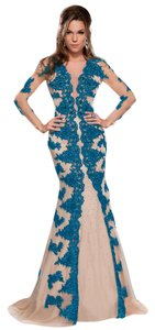 MNM Couture Lace Evening Night Out Party Long Dress