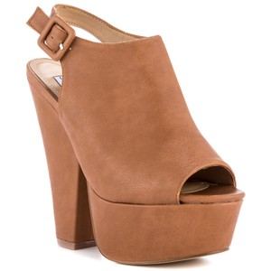 Steve Madden Slingback Bootie Leather Cognac/Brown/Tan/Camel Mules