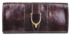 Gucci Gucci Soft Stirrup Python Clutch Evening Bag Large 304719 Plum 5033