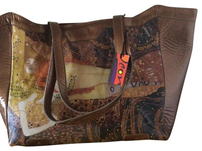 Item - Gustiv Klimt's Water Spirits Gold- Multi Patent Leather-leather Tote