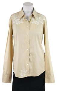 Robert Graham Khaki Embroidered Shirt Longsleeve Cotton Button Down Shirt