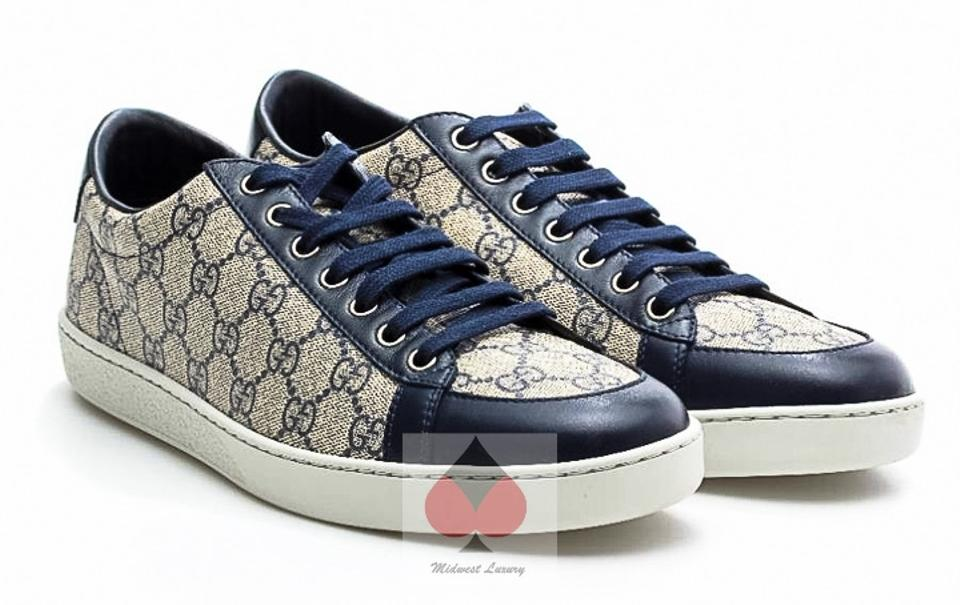 53223105572 Gucci Blue   Beige Gg Supreme (Entrupy Authenticated) Canvas Brooklyn Low  Top Sneakers Trainers Sneakers