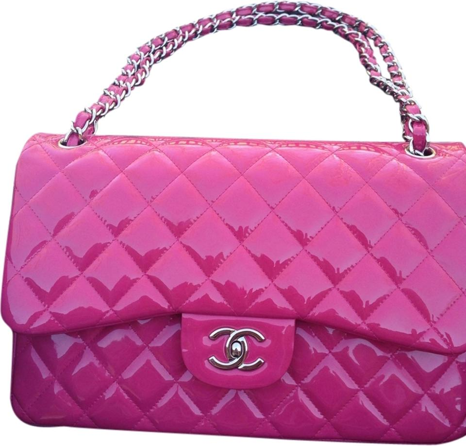 b0c3e824f130 Chanel Classic Flap Pink Quilted Jumbo Classic Double Spring/Summer 2014 Fuchsia  Patent Leather Shoulder Bag